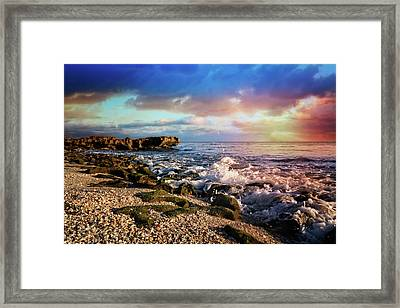 Framed Print featuring the photograph Crashing Waves At Low Tide by Debra and Dave Vanderlaan