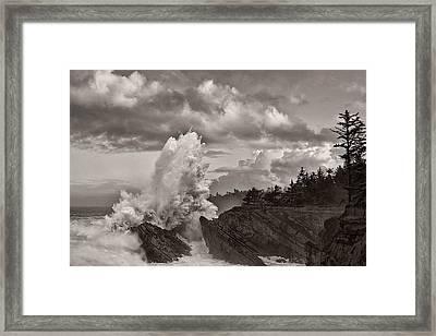 Crashing Waves At Shore Acres Framed Print by Patricia Davidson