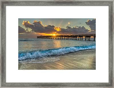Crashing Waves At Sunrise Framed Print by Debra and Dave Vanderlaan