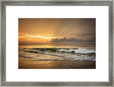 Crashing Waves At Sunrise Framed Print