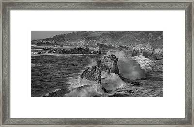 Crashing Waves Big Sur Ca Bw Framed Print