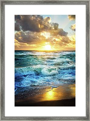 Framed Print featuring the photograph Crashing Waves Into Shore by Debra and Dave Vanderlaan