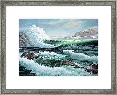 Crashing Waves Framed Print by Lorraine Foster
