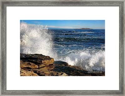 Crashing Waves On Fox Island Framed Print