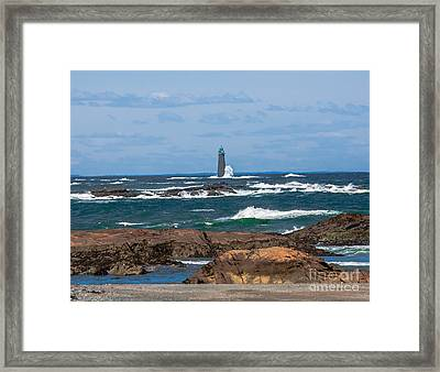 Crashing Waves On Minot Lighthouse  Framed Print