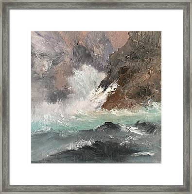 Crashing Waves Seascape Art Framed Print