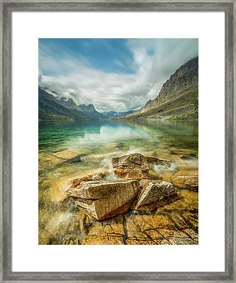 Crashing Waves // Saint Mary Lake, Glacier National Park  Framed Print