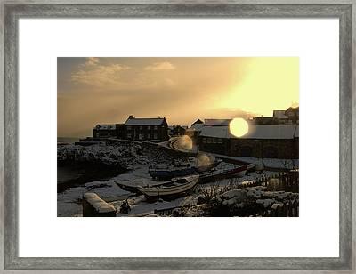Craster Harbour In Winter 2 Framed Print