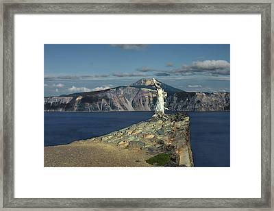 Crater Lake - A Most Sacred Place Among The Indians Of Southern Oregon Framed Print