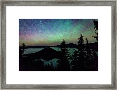 Framed Print featuring the photograph Crater Lake Airglow by Cat Connor