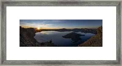 Crater Lake At Sunrise Framed Print