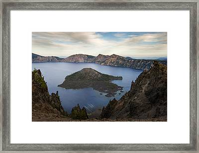 Crater Lake At Sunset Framed Print