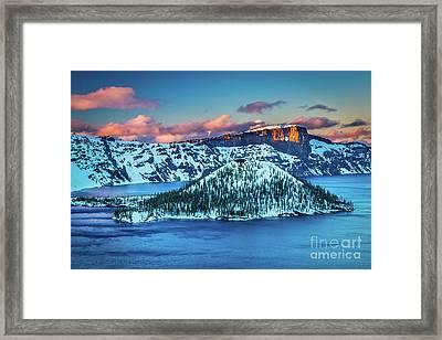 Crater Lake Dusk Framed Print