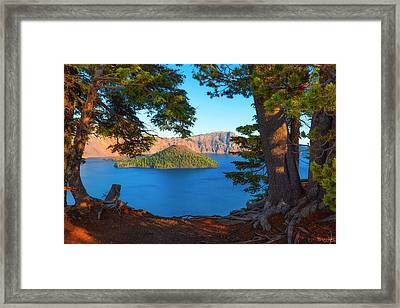 Crater Lake Early Dawn Scenic Views Ix Framed Print