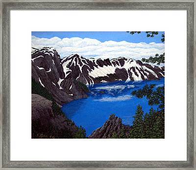 Framed Print featuring the painting Crater Lake by Frederic Kohli