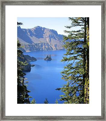 Crater Lake Ghost Ship Island Framed Print by Marie Neder