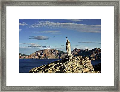 Crater Lake In The Southern Cascades Of Oregon Framed Print by Christine Till