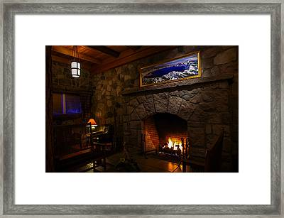 Crater Lake Lodge Fireside Relaxation Framed Print by Scott McGuire