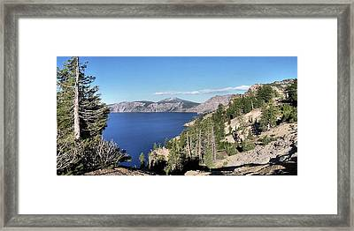 Crater Lake  Mountain Panorama Scene Picture Decor  Framed Print