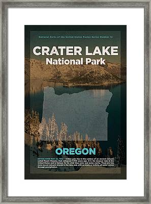 Crater Lake National Park In Oregon Travel Poster Series Of National Parks Number 12 Framed Print by Design Turnpike