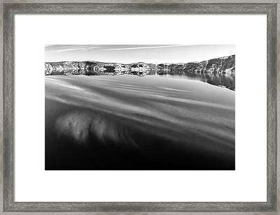 Crater Lake Reflections B W Framed Print by Frank Wilson