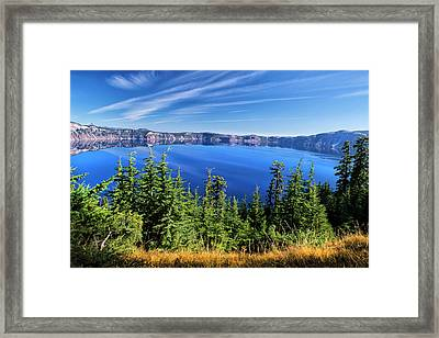 Crater Lake Rim Reflections Framed Print by Frank Wilson