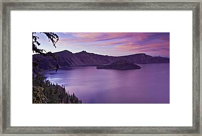 Crater Lake Sunset Framed Print