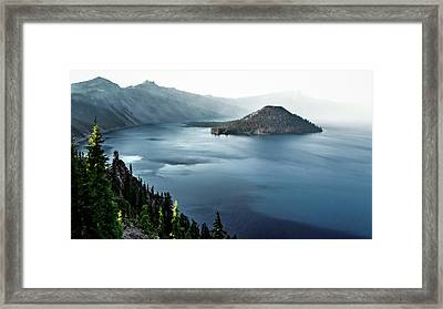 Framed Print featuring the photograph Crater Lake Under A Siege by Eduard Moldoveanu