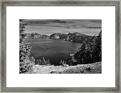 Crater Lake View In Bw Framed Print by Frank Wilson