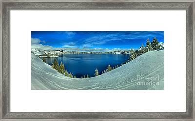 Crater Lake Winter Panorama Framed Print