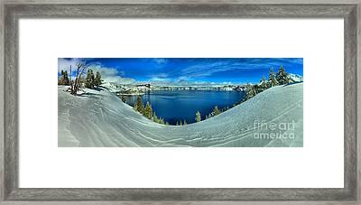Crater Lake Winter Panorama Scene Framed Print