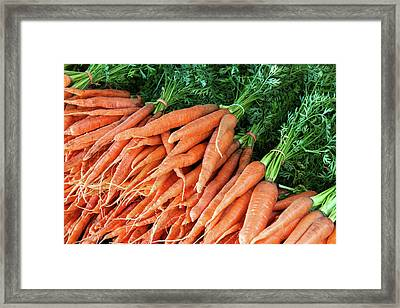 Crates Of Carrots Framed Print by Todd Klassy