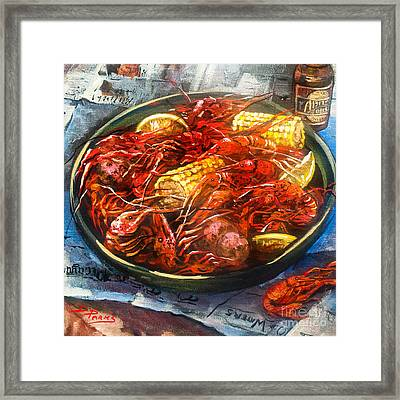 Crawfish Eatin' Time Framed Print by Dianne Parks
