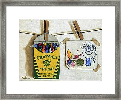 Crayola Crayons And Drawing Realistic Still Life Painting Framed Print by Linda Apple