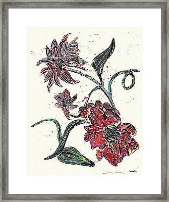 Crayon Flowers Framed Print