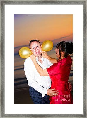 Crazy Bride And Groom Framed Print