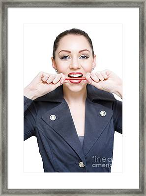 Crazy Business Woman Framed Print by Jorgo Photography - Wall Art Gallery