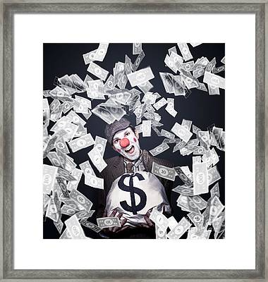 Crazy Clown Excited To Hold A Bag Of Money Framed Print