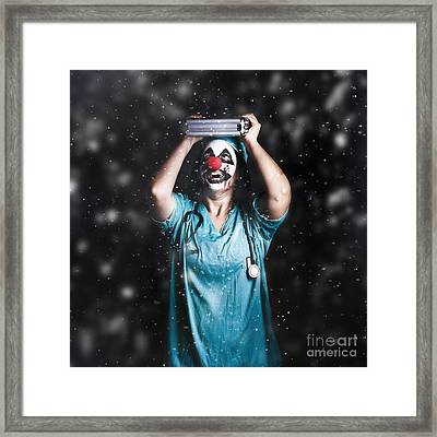 Crazy Doctor Clown Laughing In Rain Framed Print