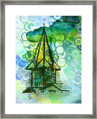 Crazy House In The Clouds Whimsy Framed Print