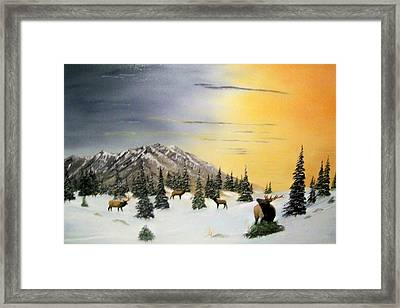 Framed Print featuring the painting Crazy Mountains Sunset by Al  Johannessen