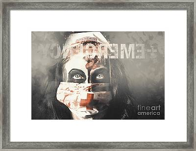Crazy Nurse Of Death Looking At Emergency Sign Framed Print