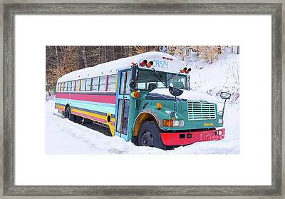 Crazy Painted Old School Bus In The Snow Framed Print