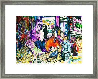 Crazy People In Apartment Framed Print