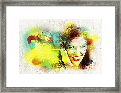 Crazy Pin-up Graffiti Framed Print