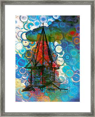 Crazy Red House In The Clouds Whimsy Framed Print