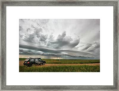 Crazy Shelf Cloud Near Ponteix Sk. Framed Print by Ryan Crouse