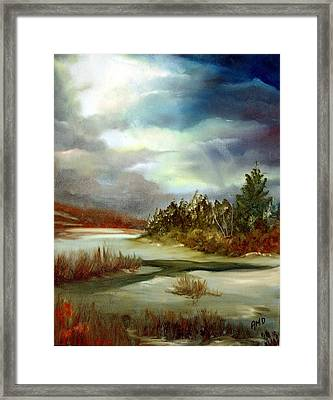 Framed Print featuring the painting Crazy Skies by Anna-maria Dickinson