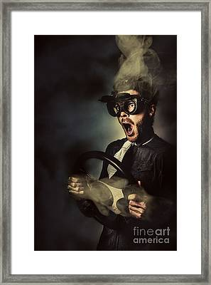 Crazy Speed Car Driver Framed Print by Jorgo Photography - Wall Art Gallery