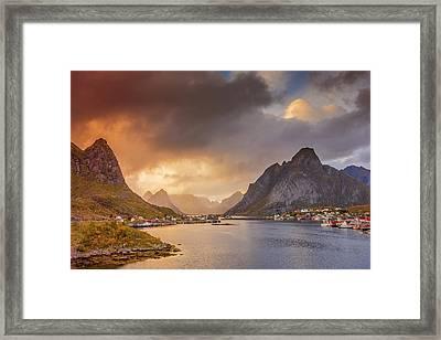 Crazy Sunset In Lofoten Framed Print